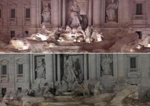 Fontana di Trevi accesa spenta