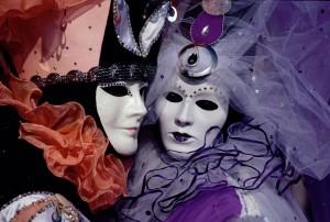 Revelers at Venice's Carnivale