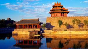 紫禁城的角楼,中国北京 (Corner Tower of Forbidden City in Beijing, China)
